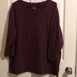 Long Sleeve V-Neck T-Shirt 3/4 Sleeve